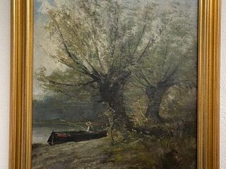 Original Oil on Canvas  Fisherman at Pond