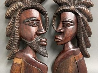 large Wooden Carved African Wall Plaques