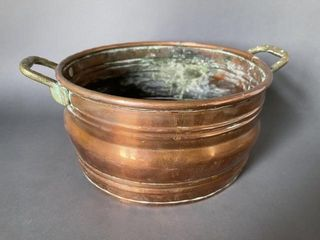 Handled Copper Pot with 1923 Farthing Coin Repair