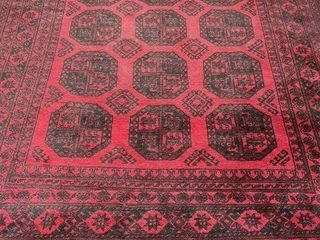 large Hand Dyed Knotted Wool Afgan Rug