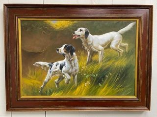 large Oil on Canvas Hunting Dogs on Point
