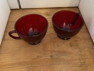 Ruby red coffee cups