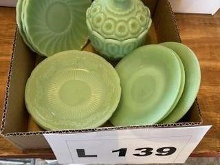 Misc jadeite dishes  Weisker candy dish