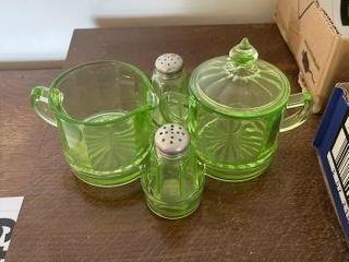 Green Vaseline glass depression set