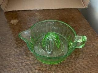 Green Vaseline depression glass reamer