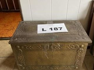 Vintage wooden and brass trunk