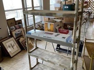 Plastic shelving unit  adjustable garment rack