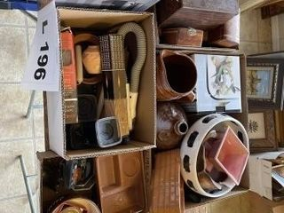 Coffee maker  trinket boxes   ashtrays and misc