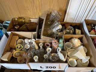 Vases  milk glass  clocks  trinket boxes  amber