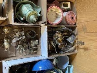 Vintage blue dishes  brass decor  pink basket