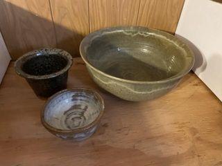 Pottery  potato chip ceramic holders  glass bowls
