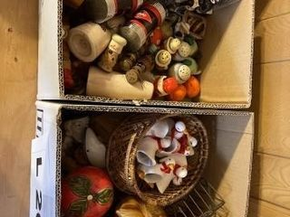 Vintage salt and pepper shakers and trinket boxes