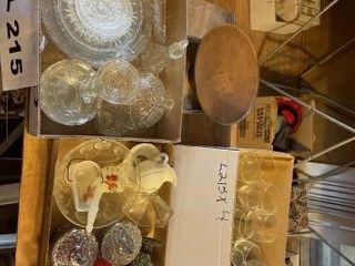 Vintage Crystal Dishes  carnival glass vase and