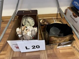 Clock  basket of shells  trinket box and