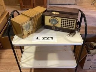 Two vintage radios and a vintage metal cart and a