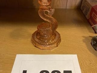 Vintage glass Chinese dragon candle stick holder