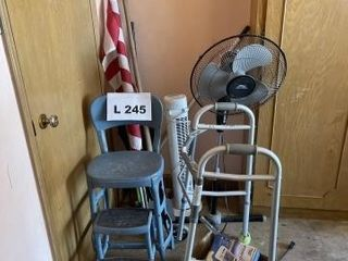 Vintage metal stepstool chair  American flag