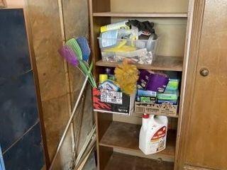 Wooden shelf  cleaning supplies  flyswatterIJs