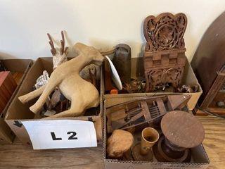 Deer figurines  metal boat  bird figures and