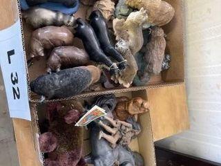 Bear  Wolf  Buffalo  horse figurines and