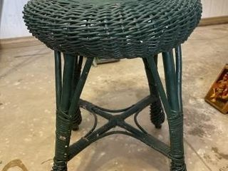 Green wicker plant stand and baskets