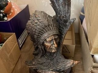 Indian chief head and eagle statue