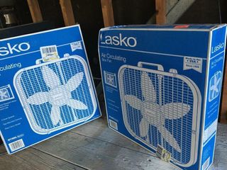 Two circulating box fans