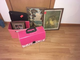 Three framed pix and a picture frame