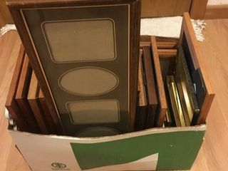 Box of empty picture frames