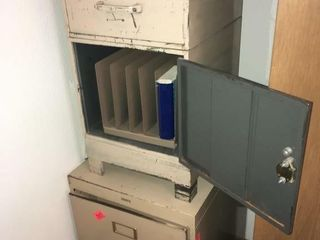 Metal safe and filing cabinets