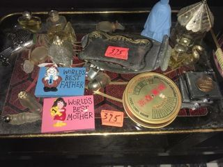 Tray with perfume bottles and more