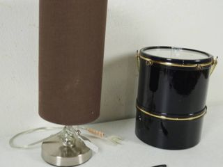 lamp w  Tall Shade and a Black Ice Basket Cooler