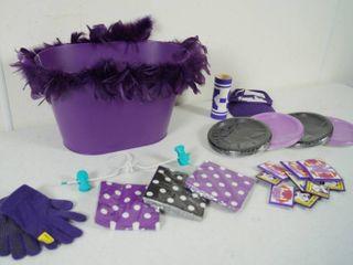 lot of K State Items   Purple Basket  Plates   Napkins  still in Original Packaging  Hat   More