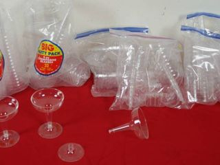 lot of Party Plastic Champagne Glasses