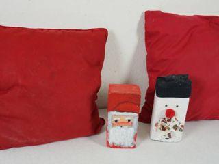 lot of 2 Red Pillows and 2 Christmas Hand Made  Brick  Santa   Snowman Decor