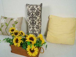 lot of 3 Pillows and a Basket Decor w  Sunflowers