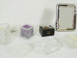 lot of Misc  Items   Silver Picture Frame  Candle  and Candy Dishes  and More