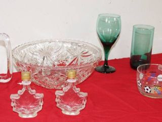 lot of Glass Wear   Mug  Glass Bowl  Wine Glasses and More  See Photos