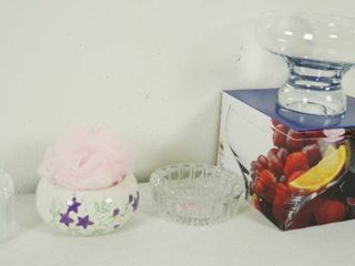 lot of Candy Dishes  Footed Serving Bowl  w Original Box  and Soap Dish