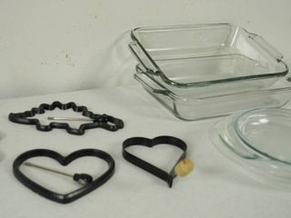 lot of Pancake Molds  and 2 Anchor Glassware Baking Dishes