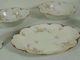Vintage  Warwick  China   Platter  Cream   Sugar    2 Serving Dishes  Matching Dishes on lot  5113