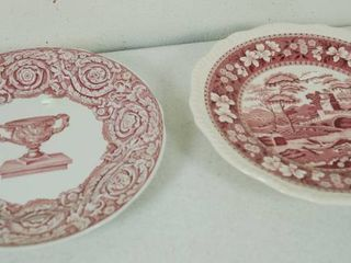 2 Vintage Plates   Plate on the left    Spode   England    Plate on the Right  Spode  Pink Tower  C1814 A1