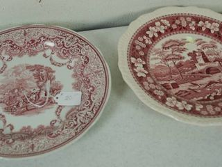 2 Vintage Plates   Plate on the left    Spode Archive Collection   Victorian Series    Plate on the Right  Spode  Pink Tower  C1814 A1