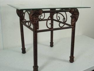 Iron Glass End Table  22  Tall  Very Nice