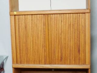 Oak Wood Cabinet  for Computer  TV  or Anything   78  Tall  16  Deep  and 36  Wide