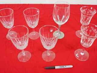 lot of 7 Wine Glasses  See Photos