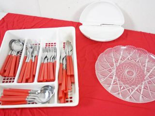 Silver Ware w Organizer  Egg Maker  Microwave    Plastic Tray