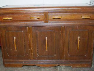 Vintage Wood Buffet 36  High x 54  Wide   W H Wood  Iola Kans   391