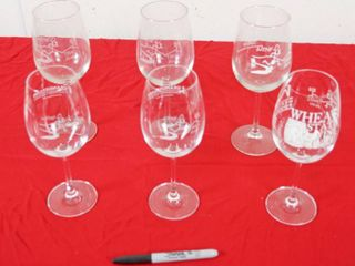 lot of 6 Wine Glasses  See Photos