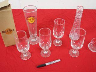 Hard Rock Cafe Glass w Original Box  4 Wine Glasses  Glass Vase    Glass Creamer